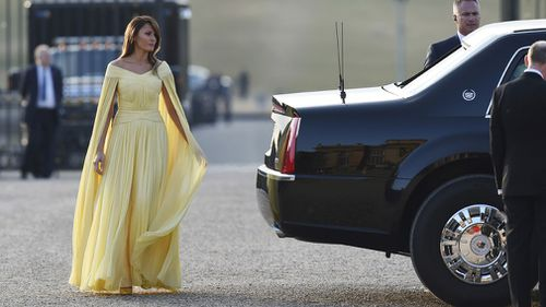 First Lady Melania Trump arrives at Blenheim Palace ahead of a dinner with business leaders. Picture: EPA
