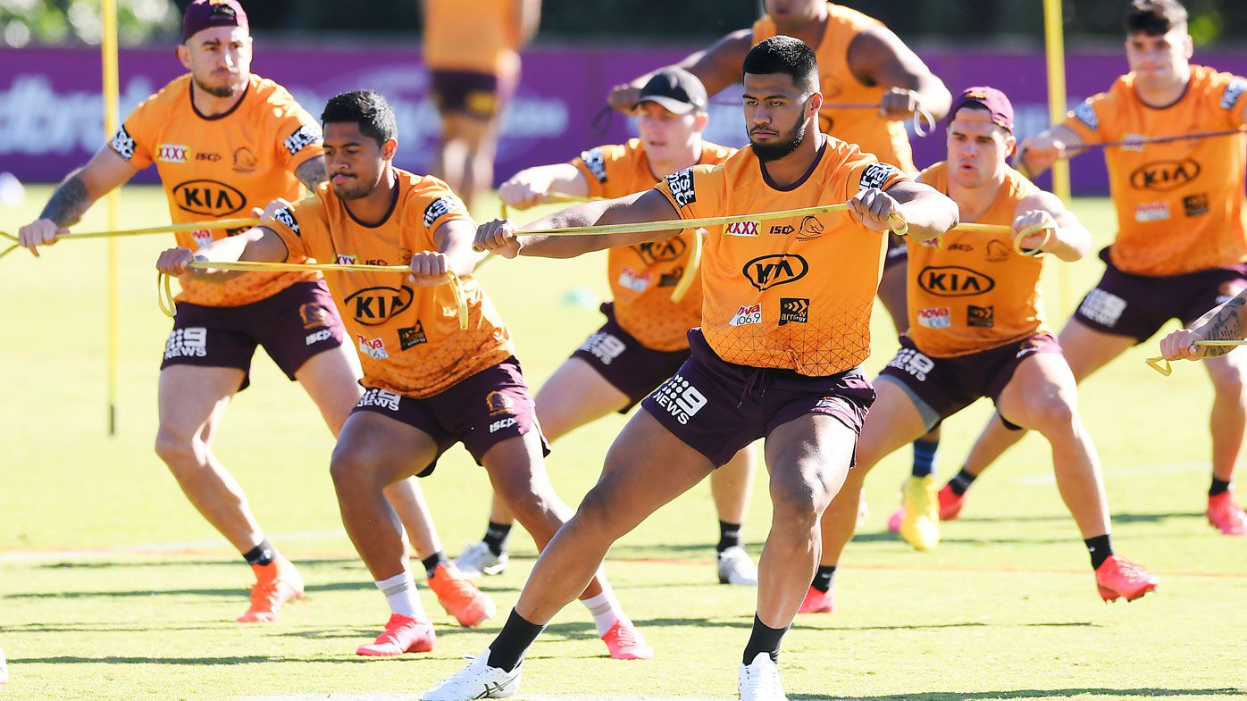 Broncos players train ahead of their crucial win against the Bulldogs.