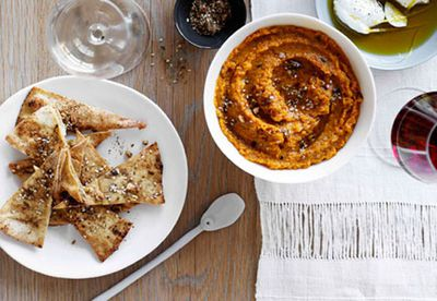 Roast carrot dip with crisp pitta bread