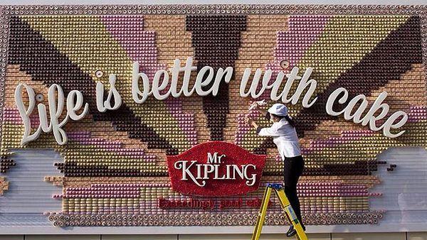 Edible billboard touts virtue of cake
