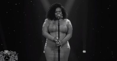 Amber Riley performs Naya Rivera tribute.