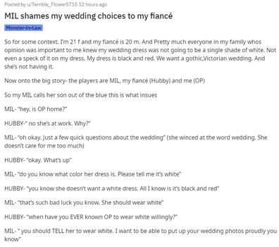 She recalls a conversation her MIL had about the dress and is worried about what she will do next.