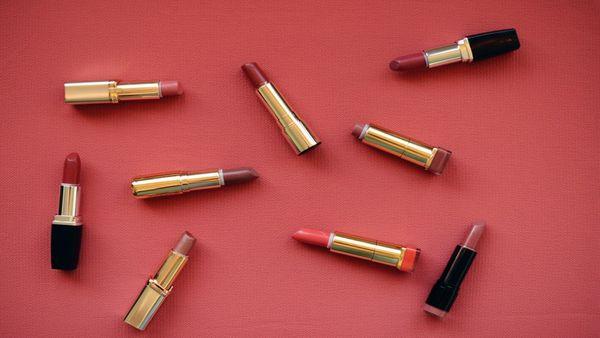 A flatlay of lipsticks
