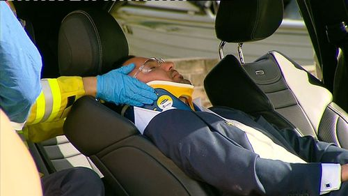 Mehajer was stretchered away from the crash in Lidcombe last year.