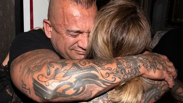 "Richmond player Dustin Martin's father Shane 'Kiwi"" Martin reacts after the Richmond Tigers win the  2019 AFL grand final."