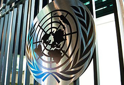 United Nations logo on gate (Getty)