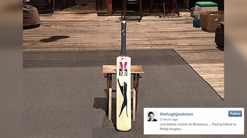 Hugh Jackman pays tribute to Phillip Hughes on Broadway
