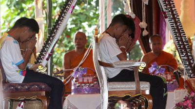 Thai soccer team pray for protection after cave ordeal