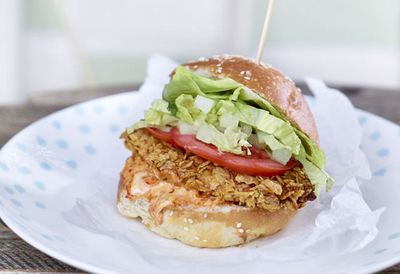 "Recipe: <a href=""http://kitchen.nine.com.au/2016/05/20/10/14/corn-flakes-chicken-burger"" target=""_top"">Corn Flakes chicken burger</a>"