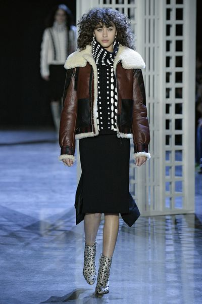 Joseph Altuzarra presented a collection of pencil skirts, shaggy outerwear and shimmery scarf dresses.
