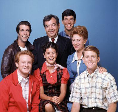 Henry Winkler, Tom Bosley, Anson Williams, Marion Ross, Ron Howard, Erin Moran and Donny Most