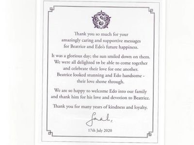Thank you after Princess Beatrice's wedding