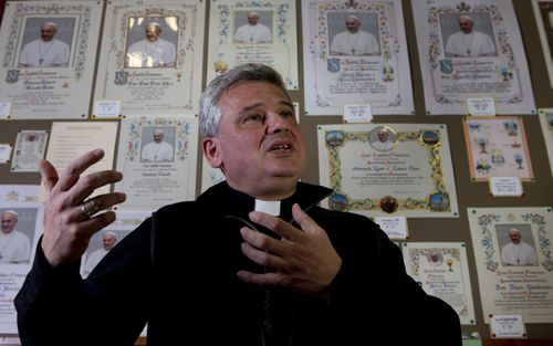 Monsignor Konrad Krajewski has been known to hand out sleeping bags to the homeless in Rome. Picture: AP