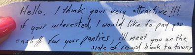 Stranger offers to buy woman's panties, leaves note on car