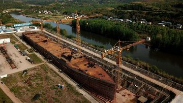 A still-under-construction replica of the Titanic ship in Daying County in China's southwest Sichuan province.