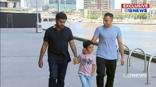 Mr Almohaimeed (far right) escaped major injuries. (9NEWS)