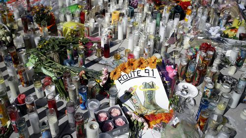 A memorial to the victims of the Las Vegas shooting. (AP)