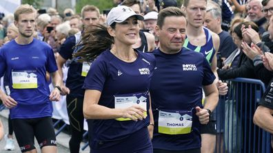 Crown Princess Mary takes part in the Royal Run, in Aalborg, Denmark, Sunday Sept. 12, 2021. (Henning Bagger/ Ritzau Scanpix)