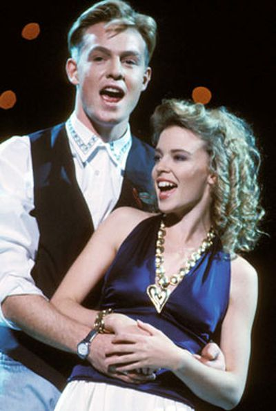 Jason Donovan and Kylie singing 'Especially For You' in 1988.
