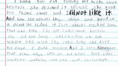 Boy's hilarious thank you note to cops