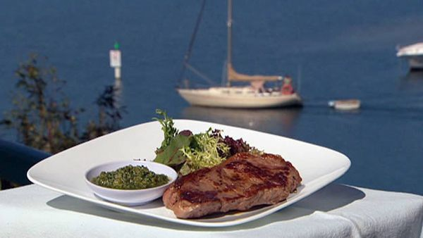 Char-grilled sirloin steak with salsa verde
