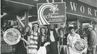 Woolworths staff celebrate the supermarket's 50th anniversary in 1974. (Supplied)