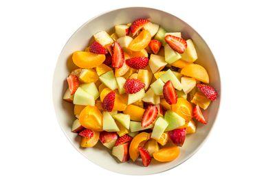 300g (bowl) fruit salad with 200g fruit-flavoured yoghurt