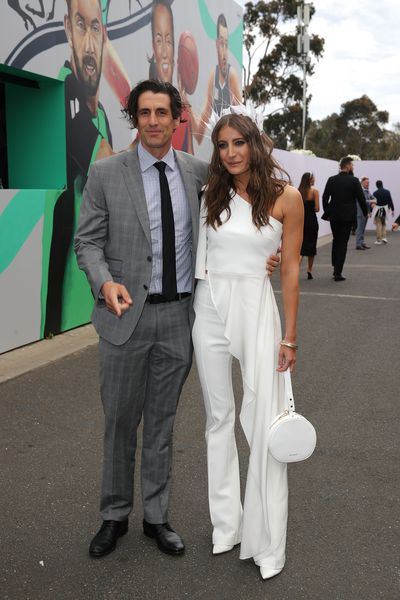 Model Rebecca Harding and boyfriend Andy Leeat Melbourne's Derby Day, 2018