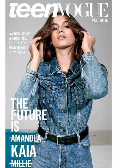 Kaia Gerber delivering all American cool in denim on the cover of Teen Vogue.