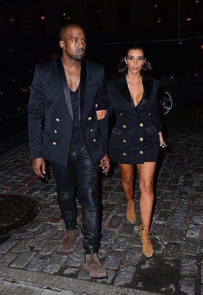 Kanye West and Kim Kardashian arrive at New York on November 2014