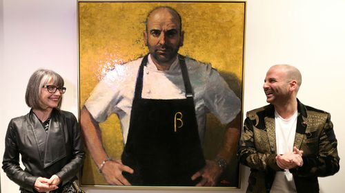 Chef and Masterchef judge George Colambaris (right) sat for artist Betina Fauvel-Ogden. (AAP)