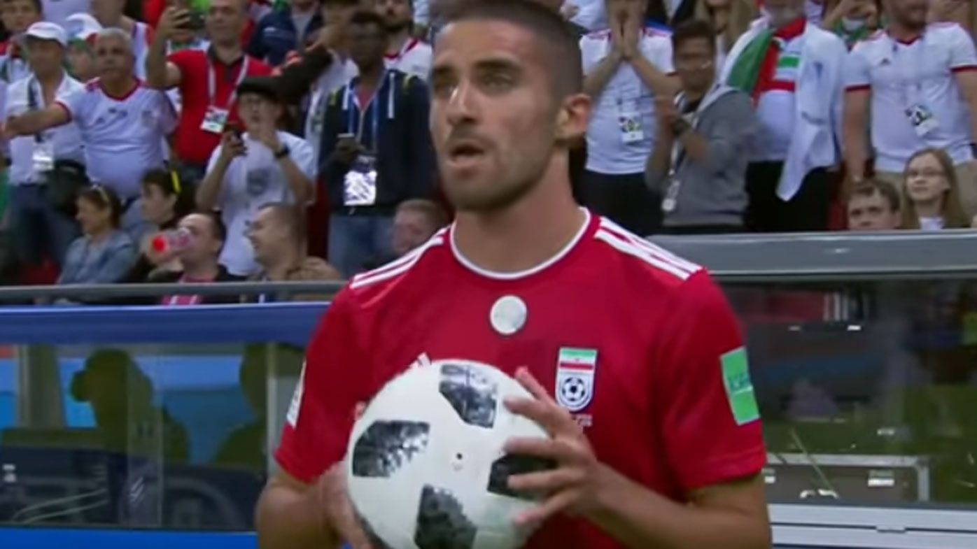 Iranian defender Milad Mohammadi gets cute with throw-in