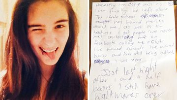 Victorian teen Cassidy Trevan and part of the note her mother found.