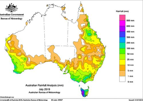 July was incredibly dry across Australia, save for Tasmania.