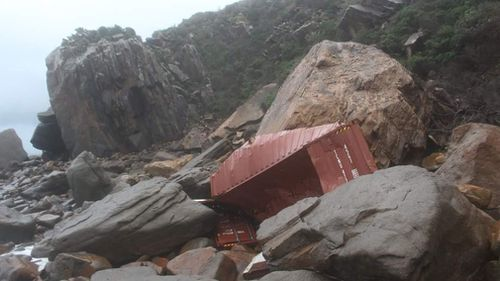 The debris is believed to be from 83 shipping containers that fell from a Liberian vessel on Friday 20 kilometres from Sydney Heads. Picture: Facebook/Terri Meakins.