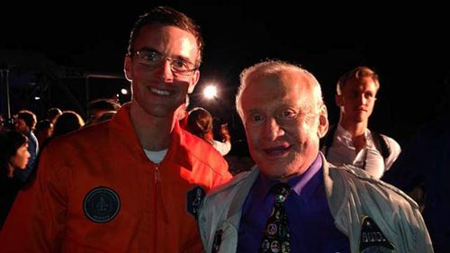 Australian astronaut Tim Gibson with Buzz Aldrin, the second man to walk on the moon. (Supplied)