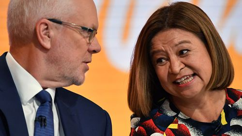 Communications Minister Mitch Fifield and ex ABC managing director Michelle Guthrie pictured at an event earlier this year.