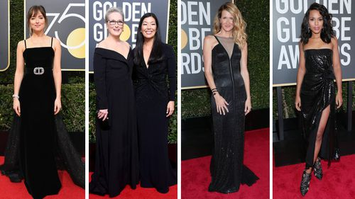 Many Hollywood stars attended this year's Golden Globes in black as part of the 'Time's Up' as a statement against sexual harassment. (AAP)