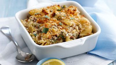 "Recipe: <a href=""http://kitchen.nine.com.au/2016/05/16/13/28/tuna-pasta-bake"" target=""_top"">Tuna pasta bake with creamed corn and feta</a>"