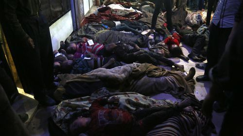 The attack occurred in the last remaining rebel stronghold in the Eastern Ghouta area. Picture: AAP.