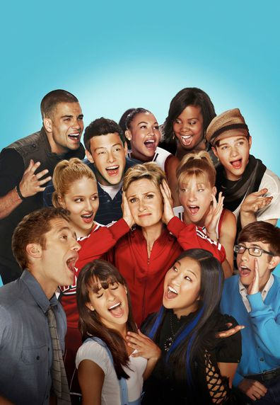 Glee cast. Jane Lynch. Pictured clockwise from L: Matthew Morrison, Dianna Agron, Mark Salling, Cory Monteith, Naya Rivera, Amber Riley, Chris Colfer, Heather Morris, Kevin McHale, Jenna Ushkowitz and Lea Michele.