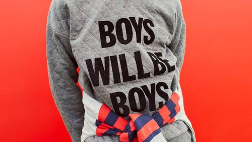"""""""Boys will be boys"""": the slogan top has stirred up controversy. (Peter Alexander)"""