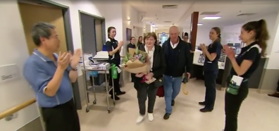 June walked out of Austin Hospital after a 32 day stint in ICU.