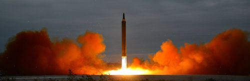 A photo made available by the official North Korean Central News Agency (KCNA), believed to be the missile launched over Japan. (AAP)