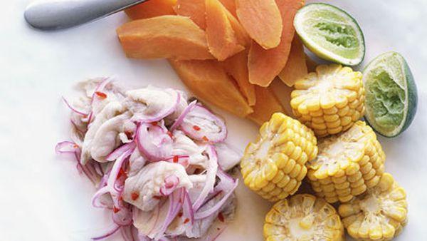 Peruvian flounder ceviche