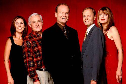 Frasier's ensemble — Peri Gilpin as Roz, John Mahoney as Martin, Kelsey Grammer as Frasier, David Hyde Pierce as Niles and Jane Leeves as Daphne.