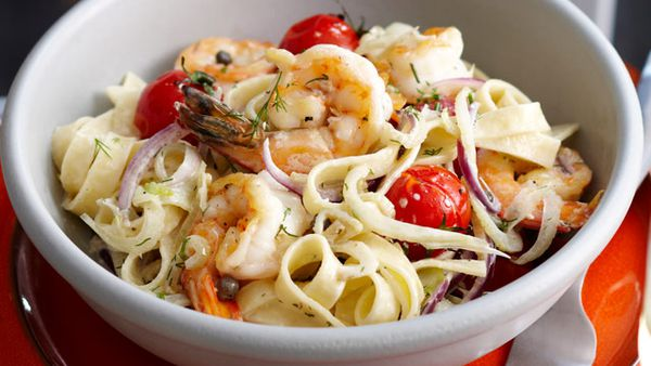 Prawn, fennel and tomato fettuccine