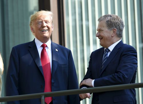 He was met by Finnish President Sauli Niinisto ahead of the historic summit. Picture: AAP