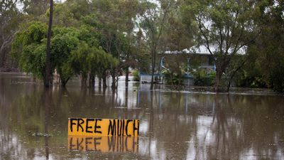The partially submerged sign indicates how flooded parts of Deception Bay are. (Supplied: Olya Hilton)