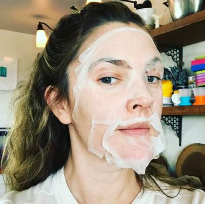 Drew Barrymore took a K beauty sheet mask for a test run as part of her Golden Globes prep earlier this year.